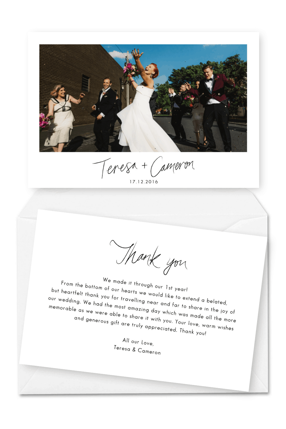 Personalised With Photo Thank Guests For Attending Wedding Thank You Cards Greeting Cards Ecog Stationery Office Supplies